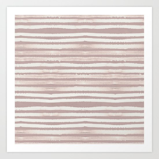 Simply Shibori Stripes Lunar Gray on Clay Pink Art Print