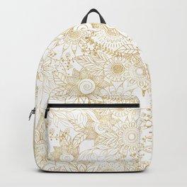 Elegant golden floral doodles design Backpack