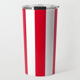 Cadmium red - solid color - white vertical lines pattern Travel Mug