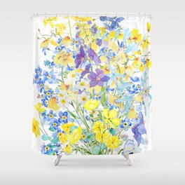 purple blue and yellow flowers bouquet watercolor   Shower Curtain