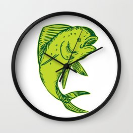 Dolphin Fish Jumping Etching Wall Clock