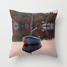 Sail Boat In Fall Throw Pillow