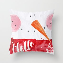 Watercolor snowman Throw Pillow