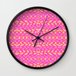Pink and Yellow Sprinkle Brushstrokes Wall Clock