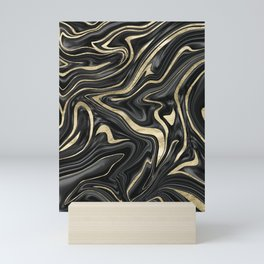 Black Gray White Gold Marble #1 #decor #art #society6 Mini Art Print