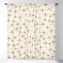 Stella III - Atomic Age Mid Century Modern Starburst Pattern in Charcoal Gray and Almond Cream Blackout Curtain