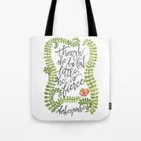 though she be but little Tote Bags featuring Though She Be But Little... by Chelsea Ward // @sketchynotions