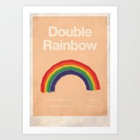 movie posters Art Prints featuring Double Rainbow - Meme Movie Posters by Stefan van Zoggel