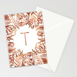 Letter T - Faux Rose Gold Glitter Flowers Stationery Cards