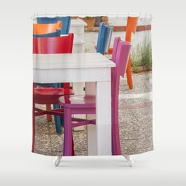 Colorful chairs and white tables Shower Curtain