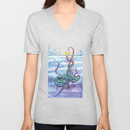 Bath Time Octopus Unisex V-Neck