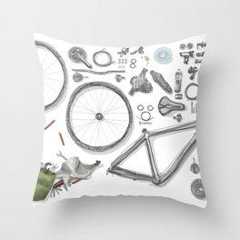 a bike's flatlay Throw Pillow