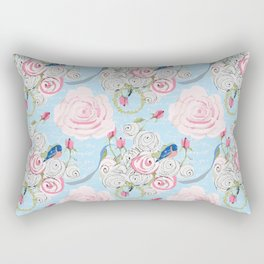 Bluebirds and Watercolor roses on pale blue with white French script Rectangular Pillow