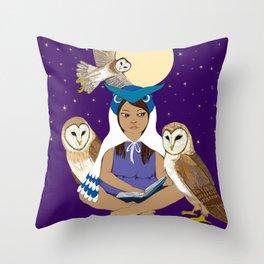 Owl Girl Throw Pillow