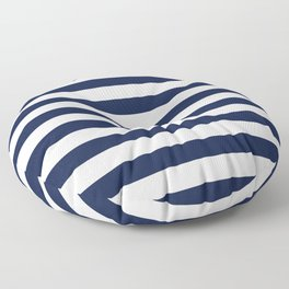 Nautical Navy Blue and White Stripes Floor Pillow