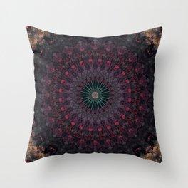 Mandala in dark red and brown tones Throw Pillow