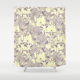 just goats purple cream Shower Curtain