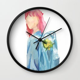 Girl with Backpack Wall Clock
