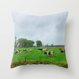 Pasture cows watercolor painting Throw Pillow