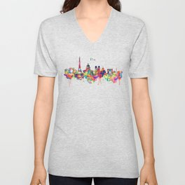 Paris Skyline Silhouette Unisex V-Neck