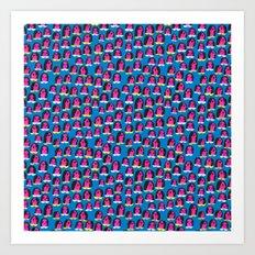 Pink Heads On Blue Art Print