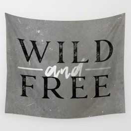 Wild and Free Silver Concrete Wall Tapestry