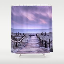 """To the beach...."" Purple sunset Shower Curtain"