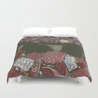 meat Duvet Covers featuring meat monuments by thefleafarm (Amy Wright)