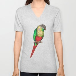 Conure with a heart on its belly Unisex V-Neck