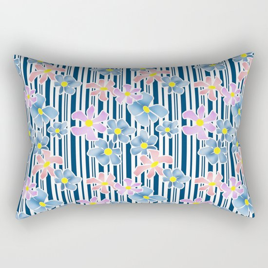 The floral pattern on striped background . Blue and pink flowers . Rectangular Pillow