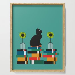 Cat, books and flowers Serving Tray