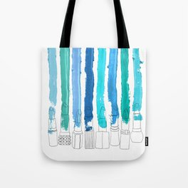 Lipstick Stripes - Blue Teal Turquoise Tote Bag