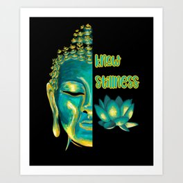 Know Stillness Calm Buddha Head Lotus Buddhist Saying Art Print