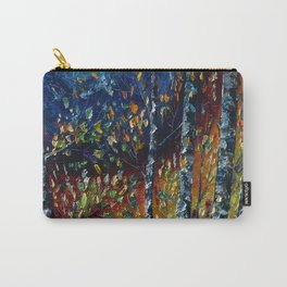 Moonlight Sonata With Aspen Trees Palette Knife Painting Carry-All Pouch