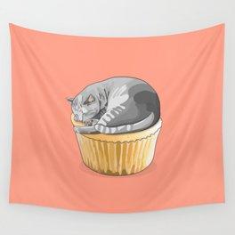 Grey Tabby Cat Cupcake Wall Tapestry