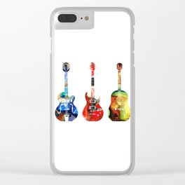 Guitar Threesome - Colorful Guitars By Sharon Cummings Clear iPhone Case