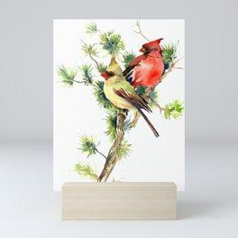 Cardinal Birds on Pine Tree Mini Art Print