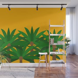 Palms Tree and Yellow Sky Wall Mural