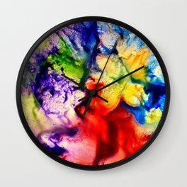 Abstract Encaustic Colorful Flowers, Wall Clock