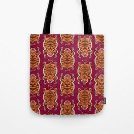 TIBETAN TIGER - ALL OVER (burgundy) Tote Bag