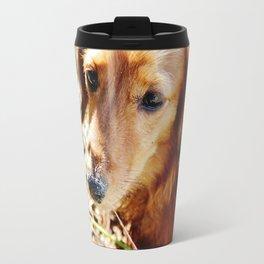 Dachshund on the sandy beach Travel Mug