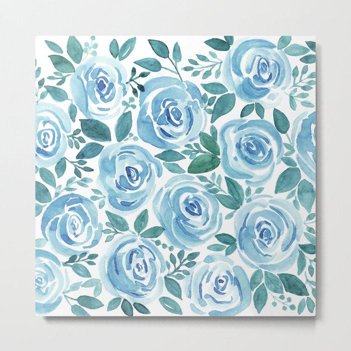Pale blue roses . Watercolor . Metal Print