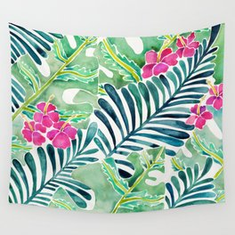 Lush Tropical Fronds & Hibiscus Wall Tapestry