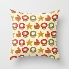 mario items pattern Throw Pillow