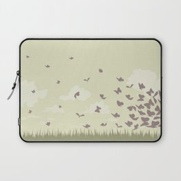 flying butterflies on a green landscape with sun Laptop Sleeve