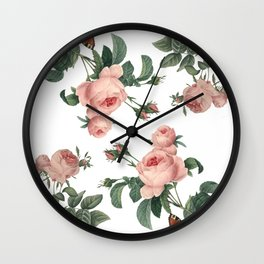 Rose Garden Butterfly Pink on White Wall Clock