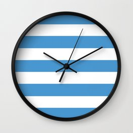 Celestial blue - solid color - white stripes pattern Wall Clock
