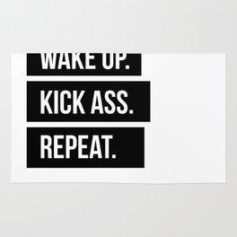 Wake up Kick ass Repeat Rug
