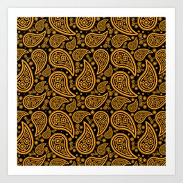 Paisley (Orange & Black Pattern) Art Print
