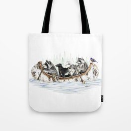 """"""" Critter Canoe """" wildlife rowing up river Tote Bag"""